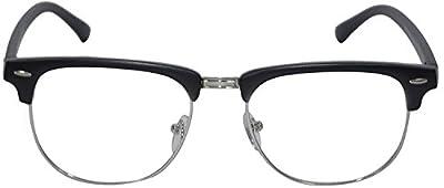 Sheomy Sunglasses Eyeglasses Frames For Eye Glasses For Mens Womens Girls Boys (Clear-Clubmaster-Black-Frame-Single)