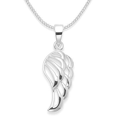 In argento Sterling 925, pendente a forma di ala d'angelo, montato su catenina in argento, dimensioni: 19 mm x 10 mm, codice: 8148, in confezione regalo, scegliere la lunghezza