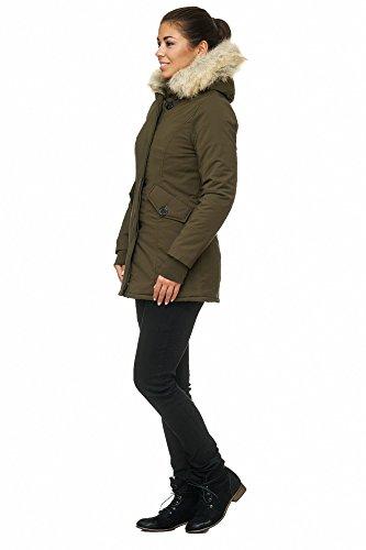 Elara Damen Winterparka | Jacke mit Kunstfell / Vegan Kunst Fell Kapuze | Designer Damenjacke | Gefütterte Outdoor Mantel | chunkyrayan XXS-XXXL Grau (fällt kleiner aus)