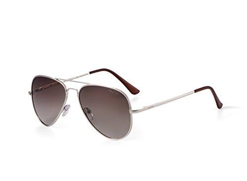 Miuno® Sonnenbrille Polarisiert Polarized Herren Damen Geschenkbox & Brillentuch Aviator Federscharnier 3025 Silbergestell (Kaffeebraun)
