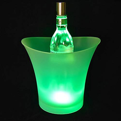 Velliceasay Weinkühler, transparenter, Heller Eiskübel mit farbigem LED-Licht, isolierter Eiskübel, ideal für Partys, Eiskübel mit Champagner- und Bierkühler, grünes Licht (Dutzend Champagner-gläser)