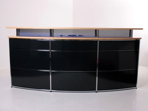 Empfangstheke Dula, 240x92cm, runde Ausführung, Anthrazit/Blau/Chrom/Buche, Spüle, Kühlschrank
