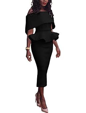 Boutiquefeel Damen Schräge Schulter Fold-over Schulter Peplum Bodycon Kleid