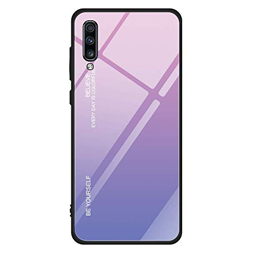 niter Kompatibel mit Samsung Galaxy A40|A60 Farbverlauf Farbe Glasmalerei Handyhülle Ultradünn Slim Weichem TPU Silikon Rahmen & Gehärtetes Glas Zurück Cover Case (A40, Pink+Lila) - Lila Glasmalerei