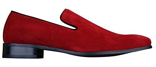 Chaussure mocassin pour Homme en daim en couleur bleu rouge noir chic et décontractée Rouge
