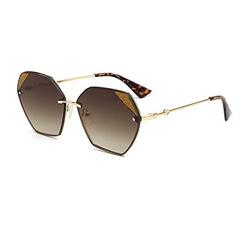 YHgiway Übergroße Sonnenbrille für Frauen, verspiegeltes Polygon Luxury Farbverlauf Sonnenbrillen mit sechseckigem Design Eyewear - UV400-Schutz YH7267,BrownGradientLens
