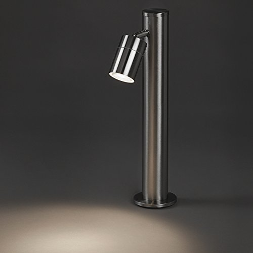 QAZQA Modern Außenleuchte/Wegeleuchte/Gartenlampe/Gartenleuchte/Standleuchte Solo RVS verstellbar 45cm / Außenbeleuchtung/Up/Down Edelstahl Rund LED geeignet GU10 Max. 1 x 35 Watt - Bei Rvs