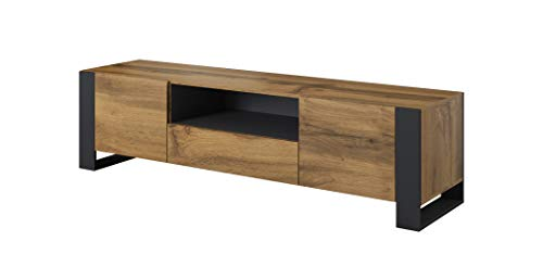 BIM Furniture NUNKI Meuble TV bas en chêne Anthracite 180 cm