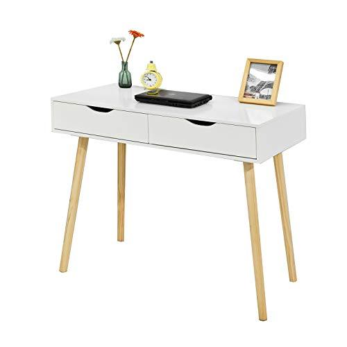 SoBuy FWT40-WN Schreibtisch mit 2 Schubladen Tisch Computertisch Kinderschreibtisch Bürotisch, weiß/Natur BHT ca: 90x77x45cm