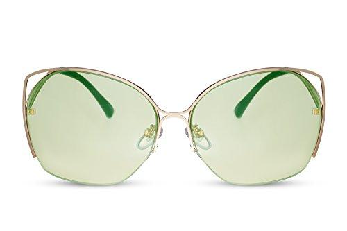 Cheapass Sonnenbrille Gold Grün Rund Groß Cat-Eye Frauen Damen Metall