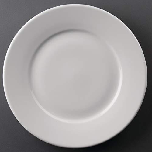 Athena Hotelware mit breitem Rand, Teller Servierteller Geschirr Food Dishware Home Esstisch Restaurant, Cafe Buffet 254 mm, 254 mm (Ø). 25.40 Weiß, Menge: 12 cm. Plate Wide Rim