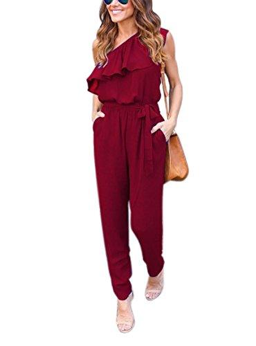 Bienbien estivi tutine donna lungo pantaloni chiffon una obliquo spalla a pieghe eleganti irregolare senza maniche tuta tulle moda jumpsuit puro colore casuale tute pagliaccetti