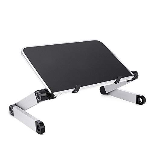 SanQing Laptoptisch und Computertisch - Verstellbarer tragbarer Multifunktionstisch, ergonomisches Design mit doppelter Arbeitsfläche, Leichter Aluminium-Arbeitsfläche,Black,Standard