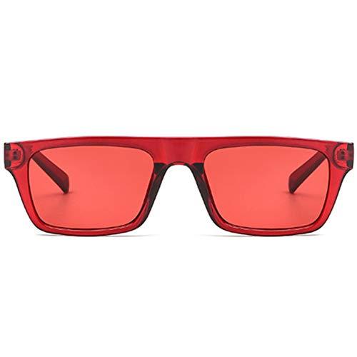 CCGSDJ Rechteck Sonnenbrille Männer Frauen Markendesigner Vintage Flache Spitze Shades Sonnenbrille Weiblich Männlich Rot Rosa Schwarz Eyewear