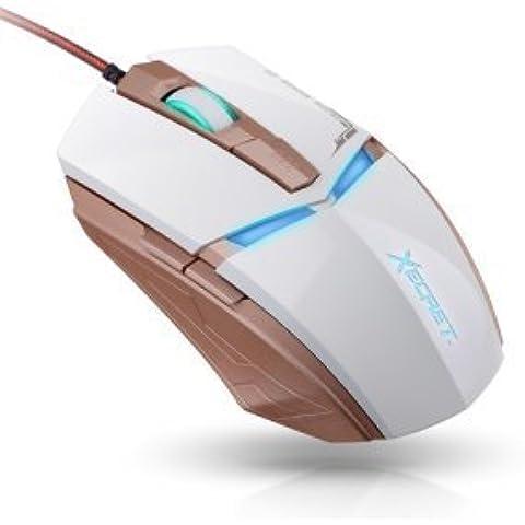 royche XG de 8500m Gaming Mouse Optical PC Ratón Wired USB Game de Laptop LED DPI ajustable 6Botones 2400dpi Gaming goldd DPI Adjustable 6Buttons 2400dpi Gamer