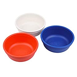 Re-Play Made in The USA 3pk Bowls for Easy Baby, Toddler, and Child Feeding - White, Red, Navy Blue (Patriotic)