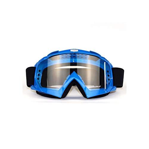 Lafeil Sportbrille Retro Damen Herren Off Road Motorrad Rennbrillen Outdoor Schutzbrille Windschutzbrille Skibrille Blau Transparent