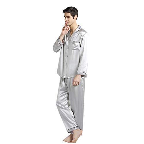 100% Seidenpyjamas für Herren Set Nachtwäsche Klassisch Langarm PJ Set 19 Momme Loungewear Button-Down PJ Set,Silver,L - Button-down Pj Set