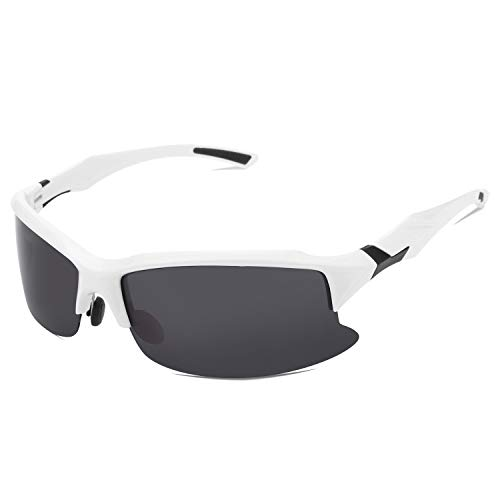 About1988 Unisex Professionel Polarisierte Sonnenbrillen,School Sport-Sonnenbrille, Fahrradbrille Radbrille für Radsport Fahrrad Baseball Skifahren Sport Brille Outdoor Sonnenbrille (Weiß)