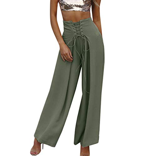 WOZOW Damen Weites Bein Hosen Solid Swing Riemchen Crossover Tie Tunika Slimming Lose Loose Trousers High Waist Casual Mode Stoffhose (S,Grün) - Club Flare Jean