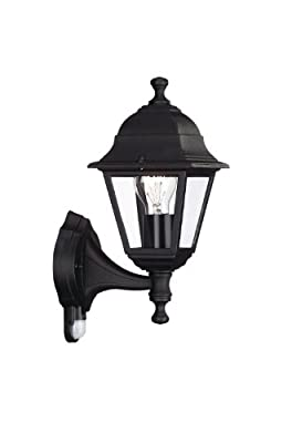 Massive Lima Outdoor Wall Light Black (Requires 1 x 60 Watts E27 Bulb, with PIR Motion Sensor)