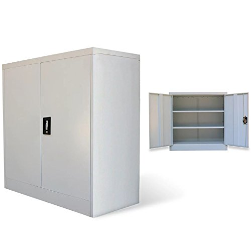 Festnight- armadio per ufficio in metallo armadio metallico per ufficio a 2 ante 90 cm grigio