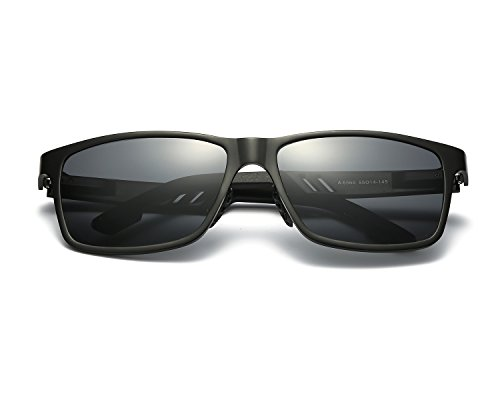 REDPEONY Herren Sport Polarisierte Sonnenbrille Stilvolle HD Objektiv Al-Mg Metallrahme Ultra leicht (Schwarz/Grau)