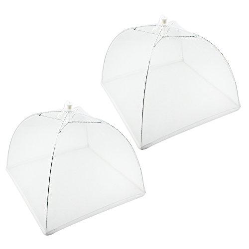 COM-FOUR® 2 Stück Speiseschirm, Abdeckung für Speisen, Insektenschutzhaube, 33 cm (02 Stück - weiß)