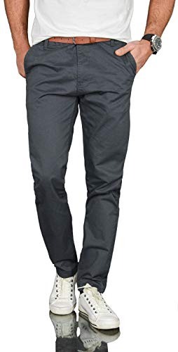 A. Salvarini Herren Designer Business Chino Hose Chinohose Regular Fit AS-095 [AS-095 - Anthrazit - W34 L32]