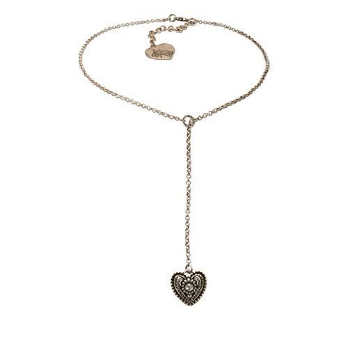 Alpenflüstern Trachten-Y-Halskette Trachtenherz - Damen-Trachtenschmuck Dirndlkette antik-Silber-Farben DHK233