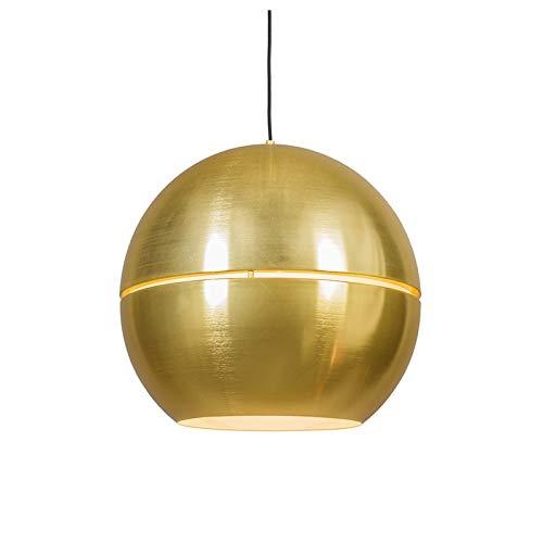 QAZQA Art Deco/Design/Modern/Retro Esstisch/Esszimmer/Pendelleuchte/Pendellampe/Hängelampe/Lampe/Leuchte Slice 50 Gold/Messing/ 2-flammig/Innenbeleuchtung/Wohnzimmerlampe/Schlaf