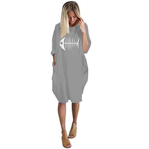 Junjie Damen Womens Plus Size lose Tops Kleid Rundhalsausschnitt Fisch gedruckt lässig Tasche Kleid rot, blau, grün, grau, schwarz (Dessous Fisch-netz Womens)