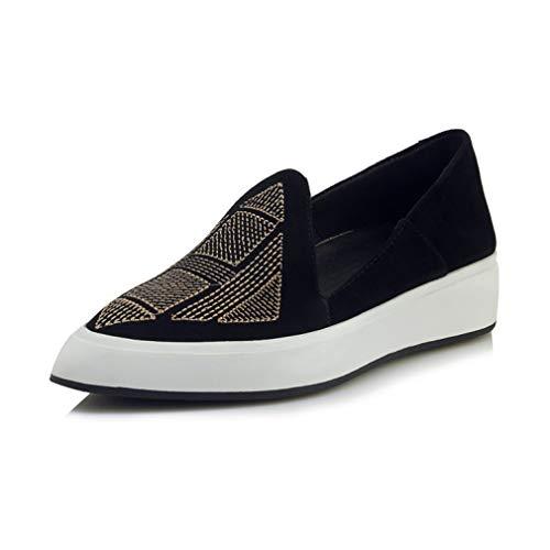 YAN Frauen Wedge Schuhe 2019 Neue Pointed Platform Schuhe Low-Top Casual Shoes Suede National bestickte Schuhe Lazy Schuhe,Black,34