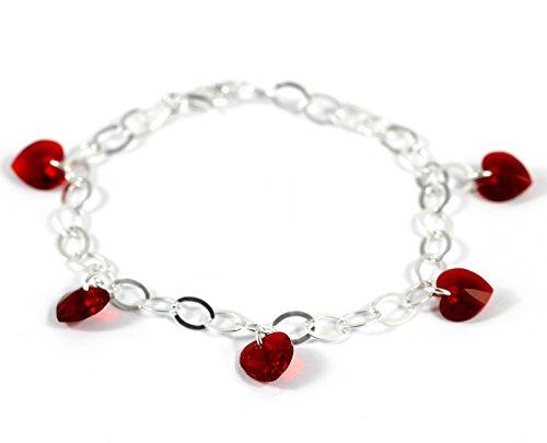 LillyMarie Damen Armband Sterling-Silber 925 Original Swarovski Elements Herz Edelsteine rot Länge Flexibel Geschenkbox Geburtstag Geschenke für Frauen