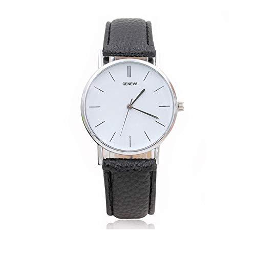 Reloj a Cuarzo analógico Reloj décontractée Reloj de Pulsera Reloj de Moda Vogue Relojes para Hombre Mujer Ultra Fino Reloj de cinturón muñecas Prendas delicadas Reloj Geneve (Negro) X 1