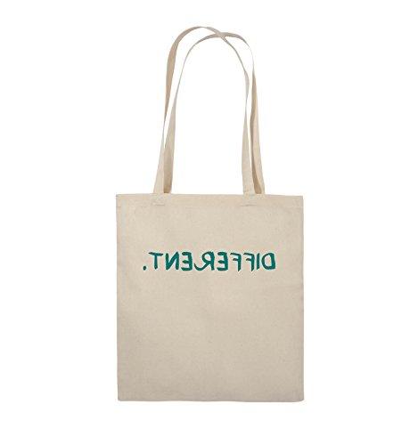 Comedy Bags - DIFFERENT - GESPIEGELT - Jutebeutel - lange Henkel - 38x42cm - Farbe: Schwarz / Silber Natural / Türkis
