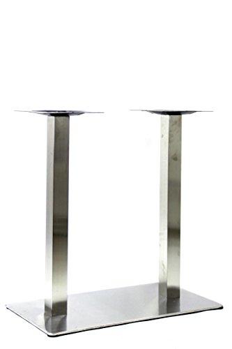Tischgestell, Tischfuß doppel, Edelstahl Gestell, rechteckiger Fuß, 105 cm -