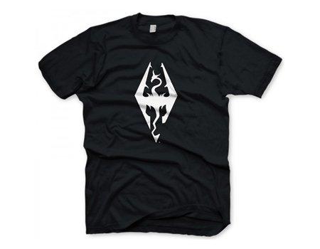 Preisvergleich Produktbild The Elder Scrolls GE1215L T-Shirt my Motiv Skyrim Drachenlogo, Schwarz, Large