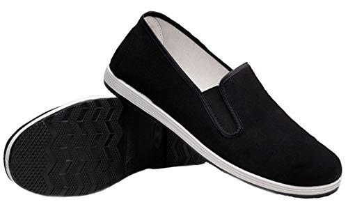 DADAWEN Herren Kampfsportschuhe Damen Kung Fu Schuhe Tai Chi Slippers Schuhe Schwarz