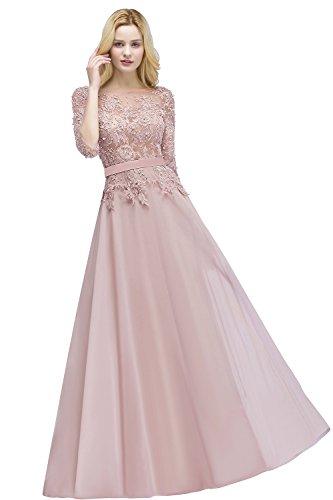 MisShow Damen Brautjungfernkleider Lange Spitze Hochzeit Brautjungfer Kleid Abend Formal Prom Ballkleider Rosa Gr.36