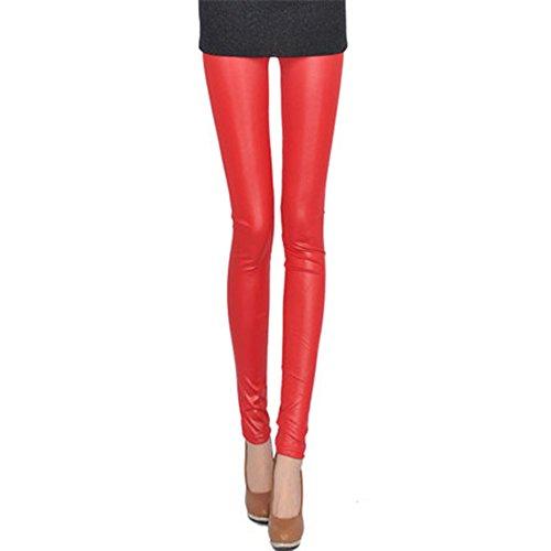spritech (TM) Sexy Damen Soft Elastic Kunstleder Skinny Leggings Pants Tights, Leuchtendes Rot, xl