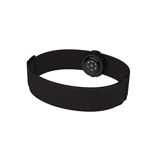 Polar OH1+ Optischer Pulssensor, Wasserdicht, Befestigungsklammer für Schwimmbrille, Bluetooth und ANT+, Textilarmband, Schwarz, One Size