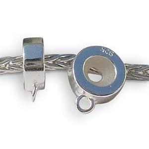 Andante-Stones 925 Sterling Silber Bead Stopper Abstandhalter mit Ring für Dangle Beads – Element Kugel für European Beads Modul Armband + Organzasäckchen