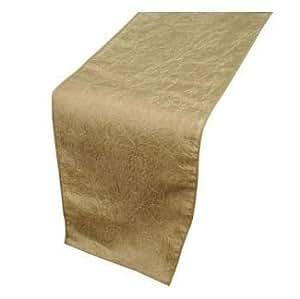 """Champagne Gold Taffeta Crinkle Lightweight Table Runner 30cm x 274cm (12"""" x 108"""")"""