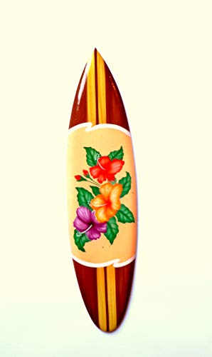 Asia Design Miniatur Dekosurfboard Surfbrett Holz Wellenreiten Höhe 20 cm inkl. Holzständer Dekoration # 6