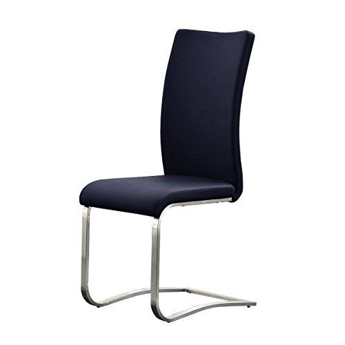 2er Set Freischwinger,Esszimmerstuhl, Schwingstuhl, Schwinger, Küchenstuhl, Sitzgelegenheiten, Besucherstuhl, Wartezimmerstuhl echt Leder schwarz-blau #ARCO2