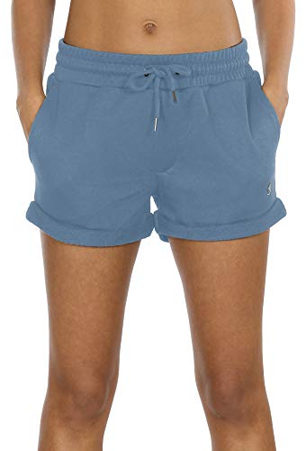 Sport Damen Hose (icyzone Damen Shorts Sport Yoga Kurze Hose Sweatpants Laufshorts Baumwolle (M, Dusty Blue))