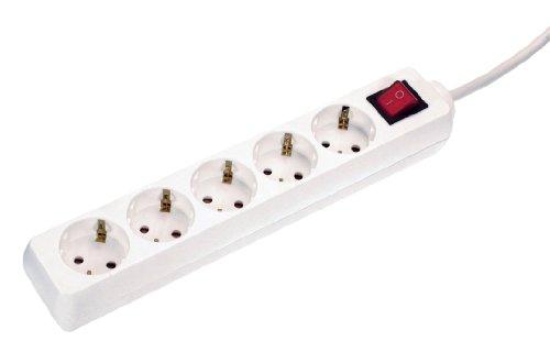 As-Schwabe+35011+-+Ciabatta+elettrica+a+5+prese,+con+interruttore+e+protezione+per+bambini,+grado+di+protezione+IP+20,+per+interni,+1,4+m+di+tubo+flessibile+in+gomma+H05VV-F+3G1,4,+colore:+Bianco