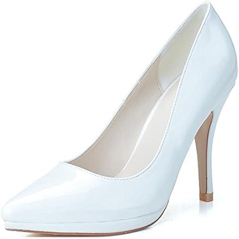 Ei&iLI PU in pelle a spillo tacco alto scarpe décolleté con plateau donne , beige , 35
