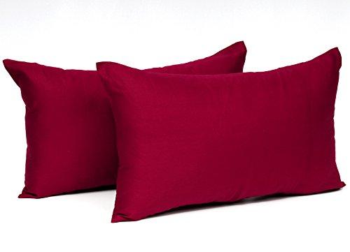 EUGAD® Doppelpack Kissenbezug Kissenhülle mit Reissverschluss 100% Baumwolle , 2x Sofakissen Dekokissen Bezug , 2er Set Kopfkissen Zierkissen Hülle Bezüge , 50x70 cm , Bordeaux , KB5149bdQ2